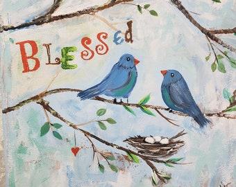"Blue birds are ""Blessed"" with eggs in their Nest. Original acrylic painting/Nursery Decor/Nursery Art/ child's room art / 8x10"