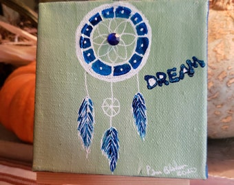 Dream Catcher Mini Canvas original painting. Includes shipping , easel, blue rhinestone.