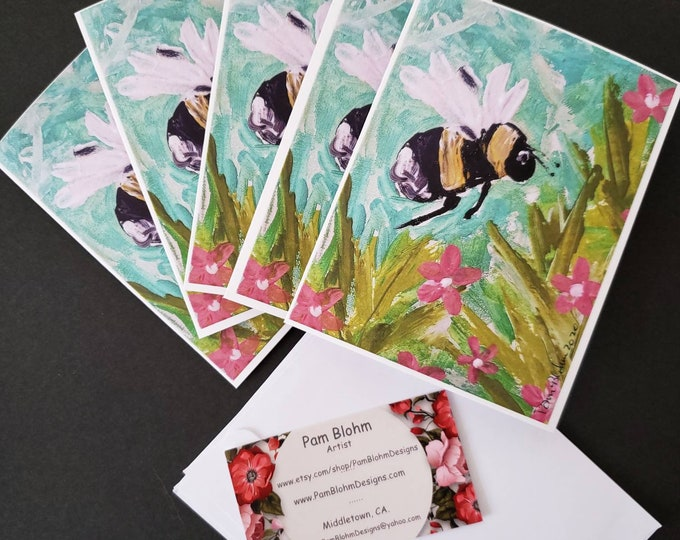 """Artist """"Bee-utiful"""" blank note cards / Gift Packaged set of 5/ gardener gift idea/Printed in the USA"""