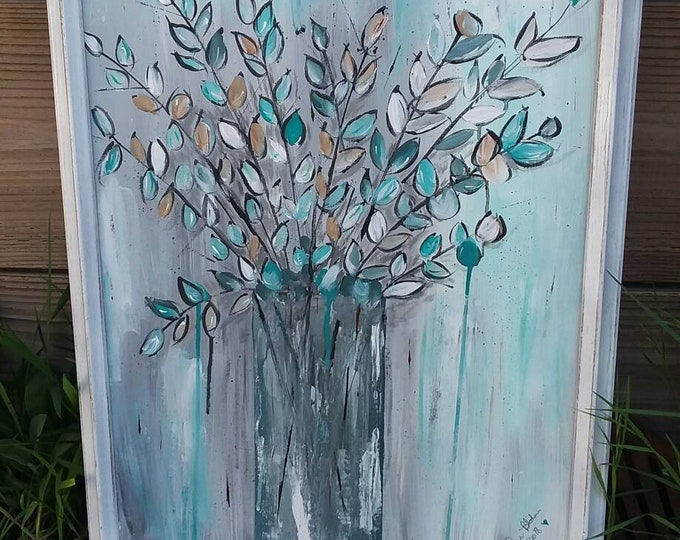 "FRAMED 18X24  ""Modern Leaves"" Abstract Acrylic Wall Art/ Modern ART/ Nursery Decor/Original Painting / home decor/Office art"