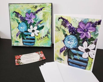 "Artist Note Cards / ""Pretty Flowers"" /set of 5 gift packaged/ Gardener gift idea / Printed in the USA"