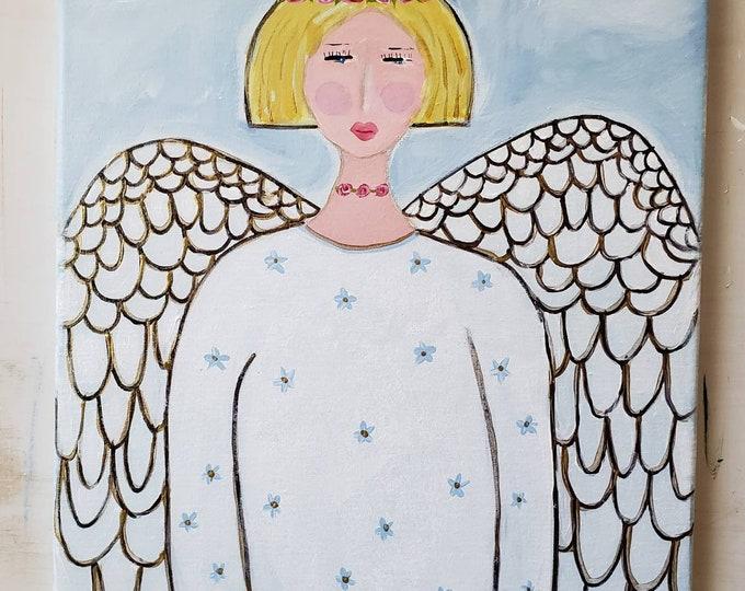 "Original Angel Acrylic Painting/ ""Soaring Wings / 12x16  Angelic Wall art  / Whimsical Girl Art/"