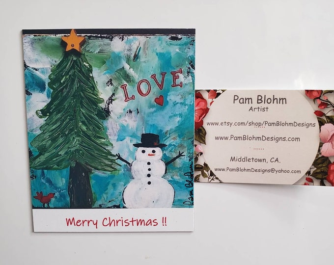 """Merry Christmas with LOVE, Art Magnet decor 3.50"""" x 4.25"""""""