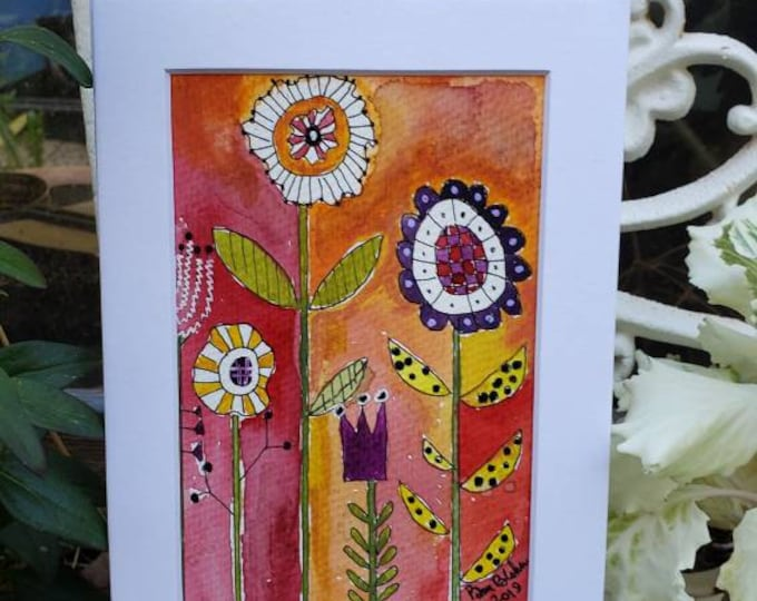 Original watercolor and ink/ whimsical WildFlowers / 5x7 Matted wall art