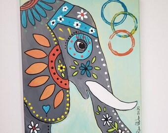 "Painted elephant art / ""Simba"" / 8x10 original acrylic painting / Home decor/ Wall art"
