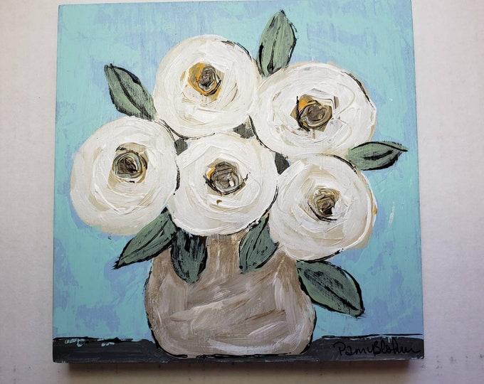 "Floral Bouquet ""California Dreamin"" / 6x6 original acrylic painting on Birchwood canvas"