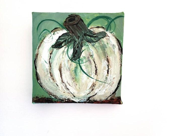 """4x4 small art canvas/ """" Homegrown White Pumpkin """" farmhouse decor / Fall artwork/ Pumpkin Paintings"""