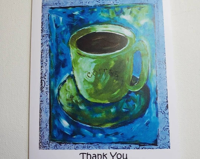 THANK YOU 5 piece note card set includes self adhesive envelopes/green Coffee Cup Art
