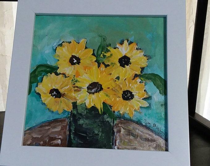 "FRAMED 6x6 abstract ""Sunflowers on the Table"" Original acrylic  painting/ canvas panel/Home decor/gift idea/wall art/nursery decor"