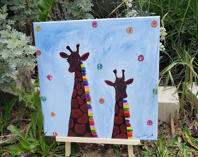 "Abstract original ""Quite the Pair"" /12x12 acrylic painting/Giraffe artwork/ Nursery decor/Kids room art/zoo animals"