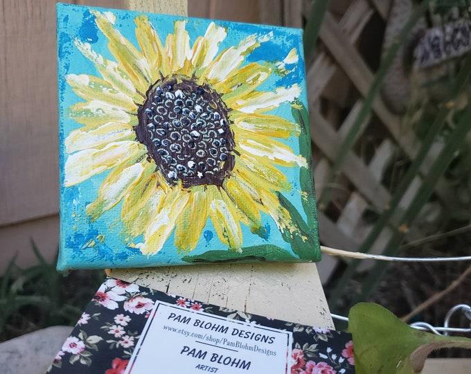 "Small art original ""Simple Sunflower "" acrylic painting. / 4x4 gift canvas / cubicle artwork / garden lovers flower art"