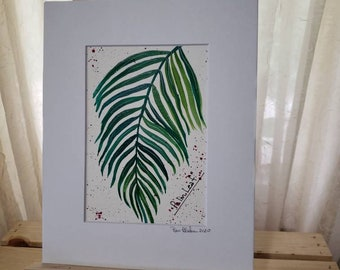 "Watercolor Painting  ""Palm Leaf "" / Botanical Plant artwork/ 8x10 Watercolor Original Matted Painting / Houseplant"
