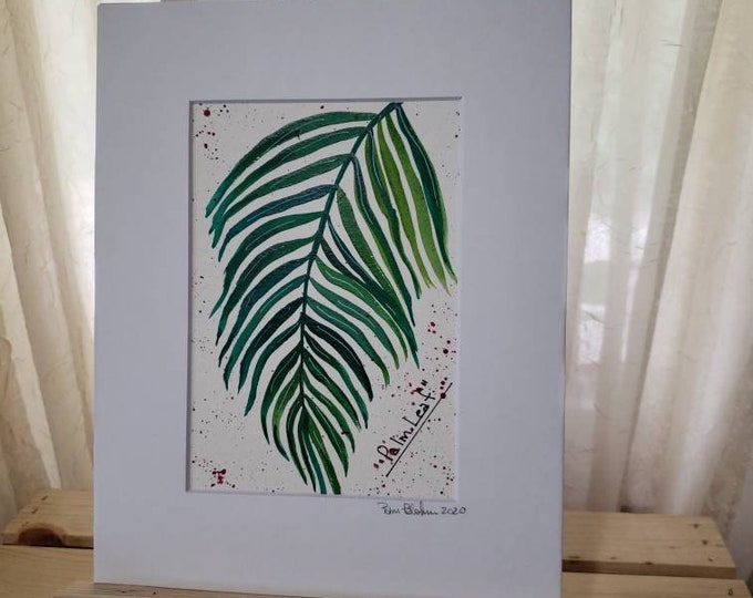 """Watercolor Painting  """"Palm Leaf """" / Botanical Plant artwork/ 8x10 Watercolor Original Matted Painting / Houseplant"""