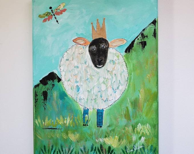 Sassy Sheep original acrylic painting/9x12 farm animal artwork/Nursery Wall Decor / Whimsical Queen Lamb Crowned field sheep