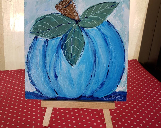 """Original acrylic painting on wood panel / """"Blue Pumpkin"""" 5""""x5"""" home decor /display easel included."""