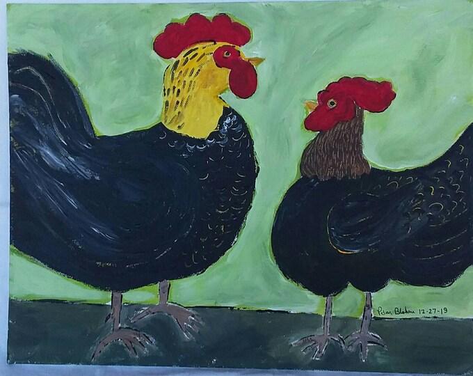 "Original acrylic painting. ""Barnyard  Chickens "" 11x14 canvas panel unframed art /wall art/kitchen decor/Farmhouse decor/nursery art"