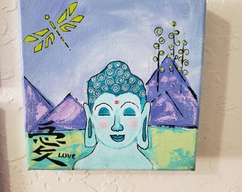 "Original acrylic ""Boy Buddha"" 6x6 canvas artwork/home decor/shelf art /wall decor/Abstract Buddha art"