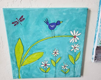 "Original acrylic painting ""Blue bird of Happiness"" / 12x12 Floral Fun / Nursery Wall art/ whimiscal decor / Daisy office art."