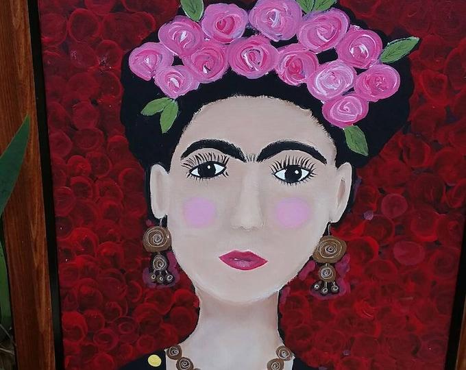 "Abstract ""Frida Kalho tribute Portrait"" . FRAMED 11x14 original acrylic  painting. Home decor/wall art/ bedroom art/office art/Canvas Panel"