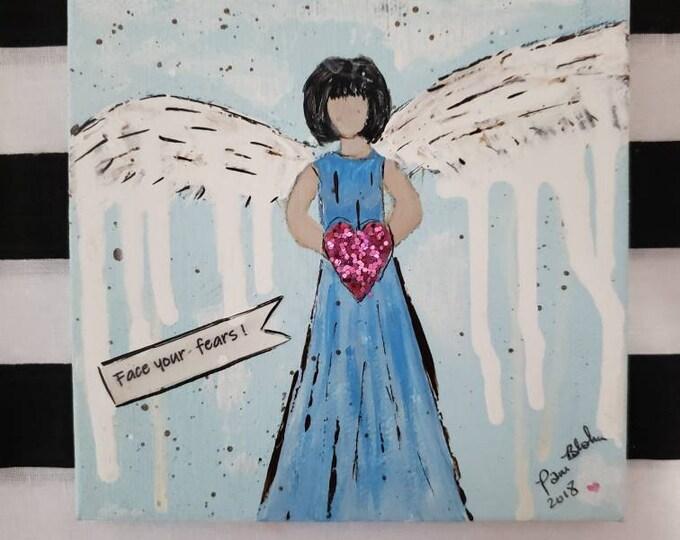 "Mixed Medium  Original artwork /Drip Wing Angel / Words of  Encourgement ""Face your fears""- 5x5 Small art/Angel art"