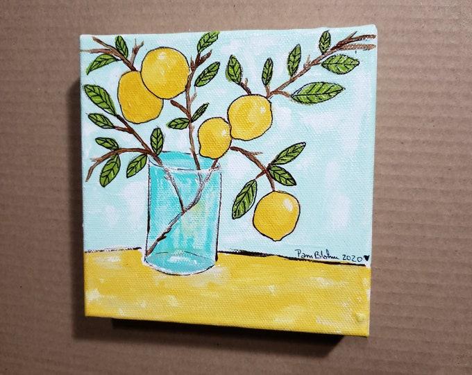 "6x6 deep canvas ""Lemon Branch"" original acrylic painting.  Kitchen or Office decor/ shelf or wall art"