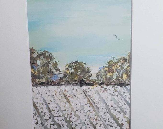 """Artist PRINT """"Summer Cottonfield"""" from original painting by Pam Blohm /white matted 5x7 to  8x10"""