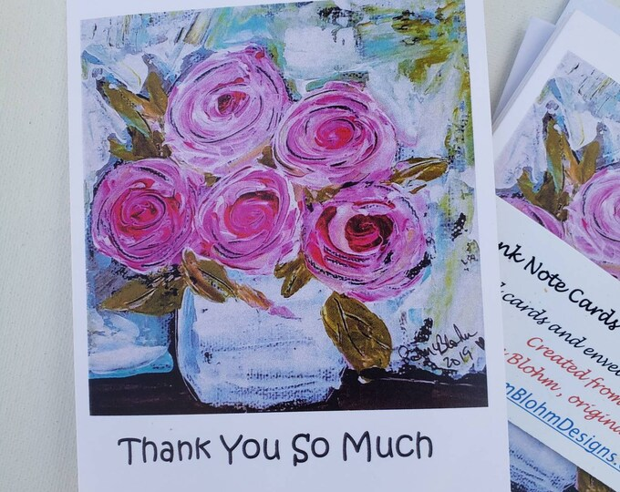 Thank You So Much / Floral Blank Note Card Set / 5 pc. gift packaging , includes self seal envelopes/shipping