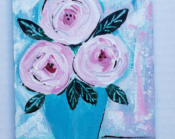 """Pink Flowers """"Cotton Candies"""" /4x6 Canvas Panel small art /original acrylic painting / gift idea"""