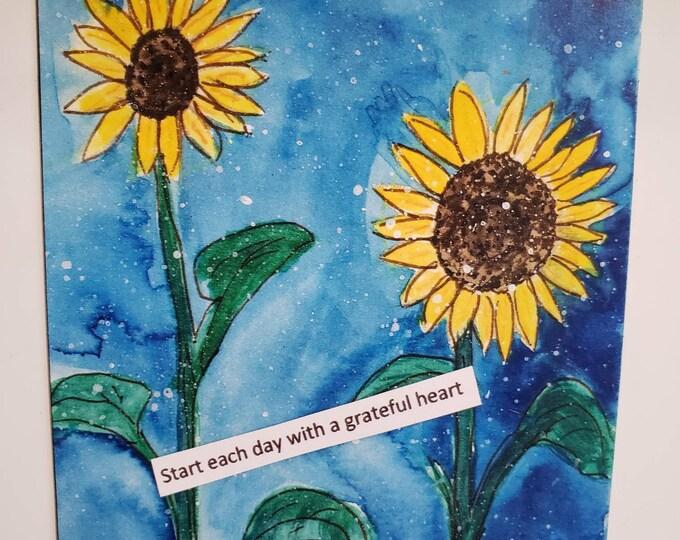 "Art MAGNET ""Start each day with a grateful heart "" / SUNFLOWER small art gift idea / flower encouragement / Birthday gift"