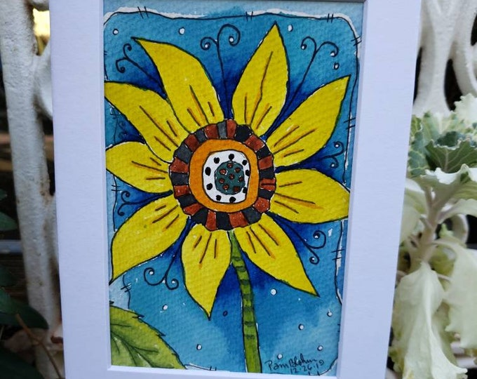 """Original watercolor & ink / """"Sassy Sunflower"""" / 5x7 white matted painting /wall art /home decor/bold and bright/gift idea/Floral art/ Flower"""