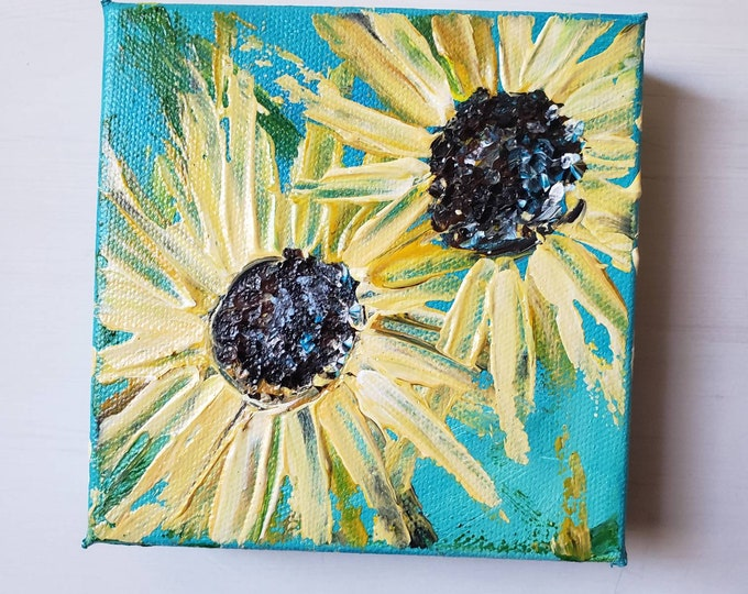 "Original "" Two Sunflowers "" Acrylic Painting / 5x5 deep canvas - small art / Shelf or Tier Tray Flower artwork"