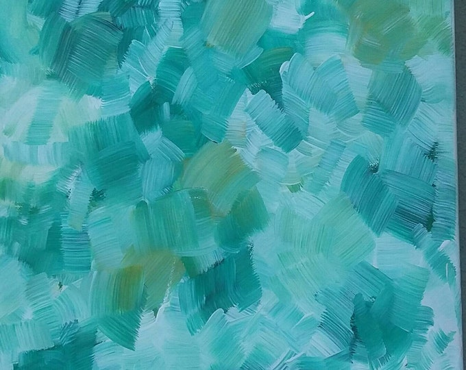 "12x12 Original Abstract Acrylic Painting ""Sea and Foam"". 12x12 Wall art/home decor"