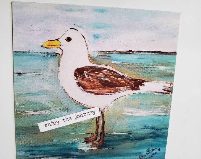 """Art MAGNET """" Enjoy the Journey"""" Seagull small art /Beach lover gift idea/ ocean lover / words of encouragement"""