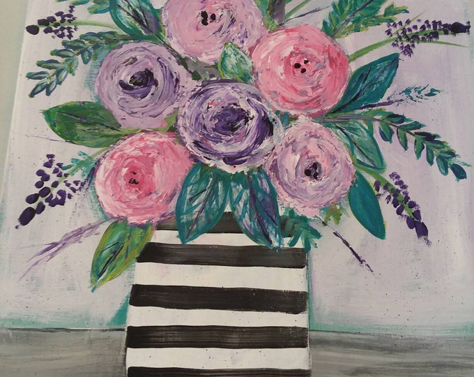 """Floral Abstract Painting """"Peggy Sue"""" Cabbage Roses / striped vase/ 18x24 Original Acrylic  Office decor/ Nursery Decor /Home Art / Wall art"""