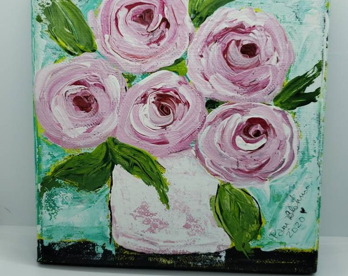 "Original acrylic painting/6x6 Small art / ""Cotton Candy Roses"" / Flower Art/ Floral Painting/ Gift Idea/ Wall Art"