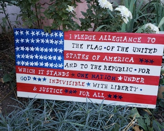 "AMERICANA ""I pledge allegiance"" Flag artwork/ USA Pledge 10x20 / Red, White & Blue Farmhouse Decor/Made in the USA"