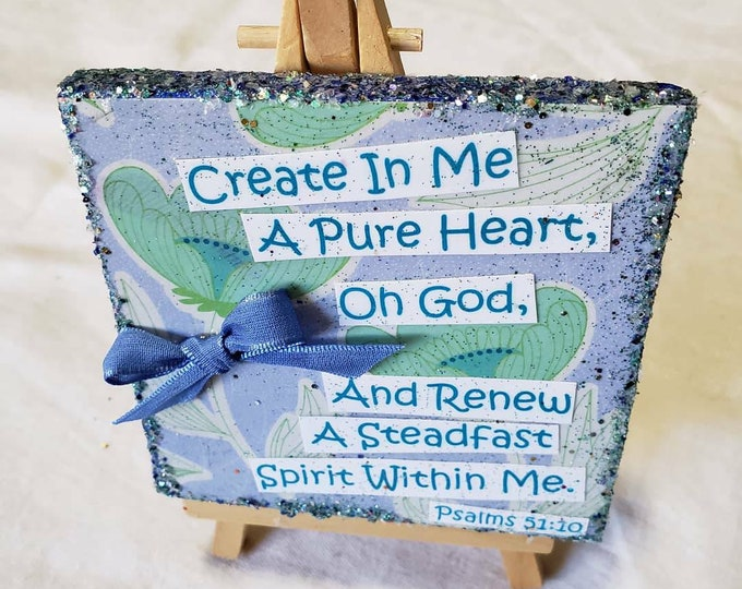 """Bible Quote Psalms 51:10 / Mixed Media Wordart  /  4"""" x 4"""" stretched canvas word / Christian Wordart/ Bling  gift idea /"""