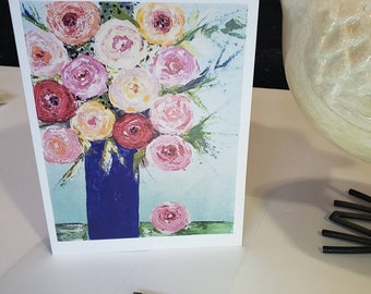 Blank Floral greeting card from  Pam Blohm artwork.  5x7 includes free shipping & self stick envelope/ pink rhinestone bling