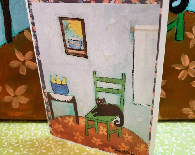 Artist Note Cards - Cat on a Chair -Set of 5 gift packaged cards -Art by Pam Blohm - Printed in the USA-  blank inside