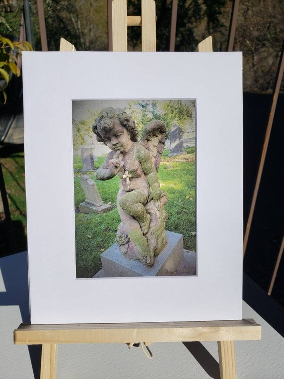 Artist PRINT / Cherub Angel /Cemetery Photography/ White matted to 8x10.