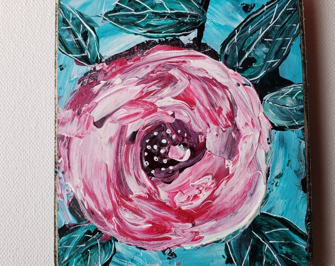 """Original """"One Wild Rose """" Acrylic Painting -4×5 Pink abstract  flower on upcycled Birch plywood ."""