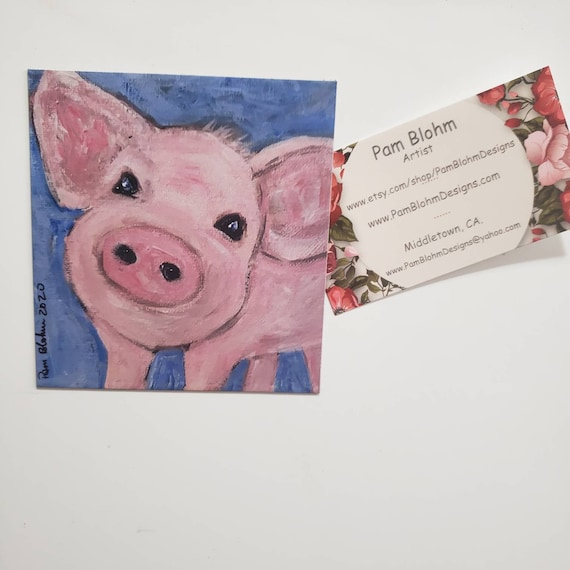 "Art MAGNET / ""Pink Piggy"" Farmhouse  Gift Idea/ Stocking Stuff /Made in the USA"