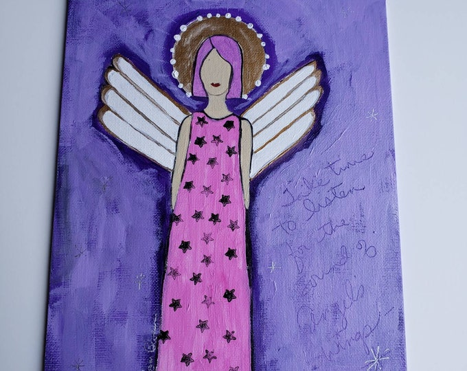 "Original acrylic painting ""#Angel Wings"" -Pink Hair  angel art - Unframed 8×10 flat canvas PANEL-"