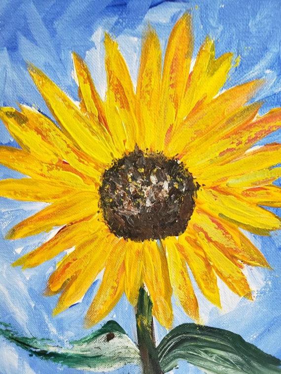 "Original acrylic painting/ ""Summer Sunflower"" /12×12 wall art /Floral painting / Flower art"