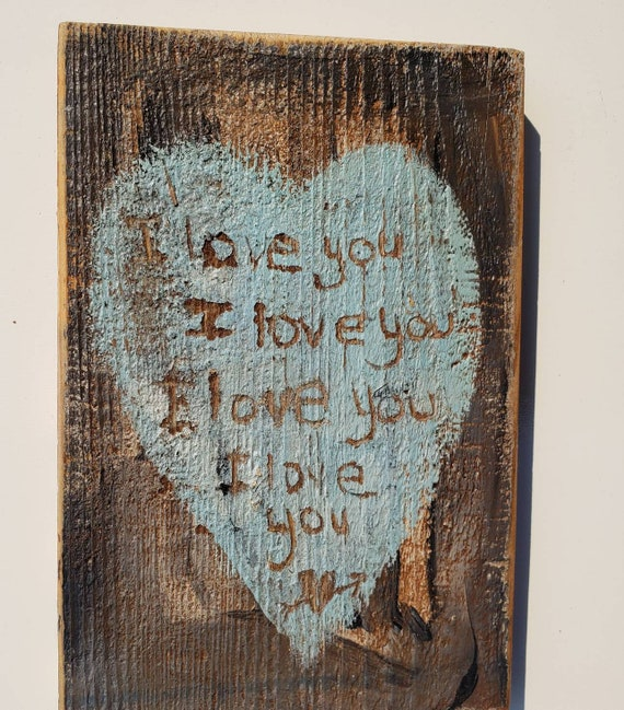 """Rustic/Primative  """"Love Letters"""" say I love you  / 4.75' x7 """" Redwood Sign/ Farmhouse decor/ Love Note /One of a kind handpainted sign"""