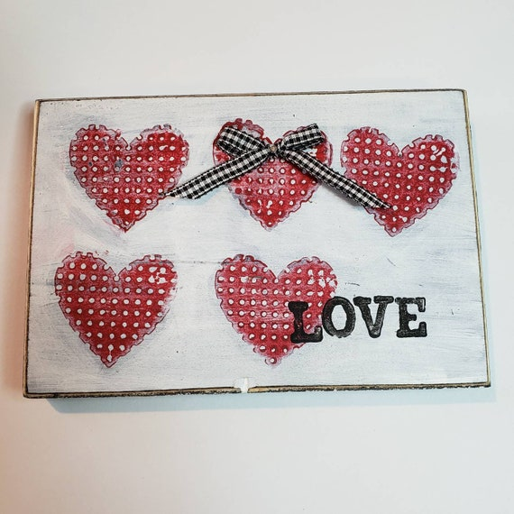 "Valentine Heart Art  ""LOVE""  Upcycled  wood  art / Tiered tray art/ 4x6 small art gift idea"