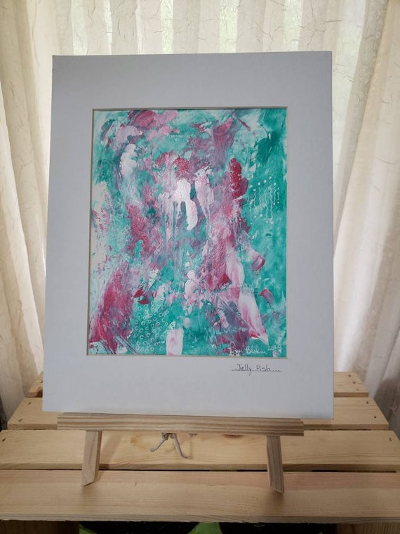 """Original acrylic abstract painting  /11x14 """"Jelly Fish """" Matted wall art"""