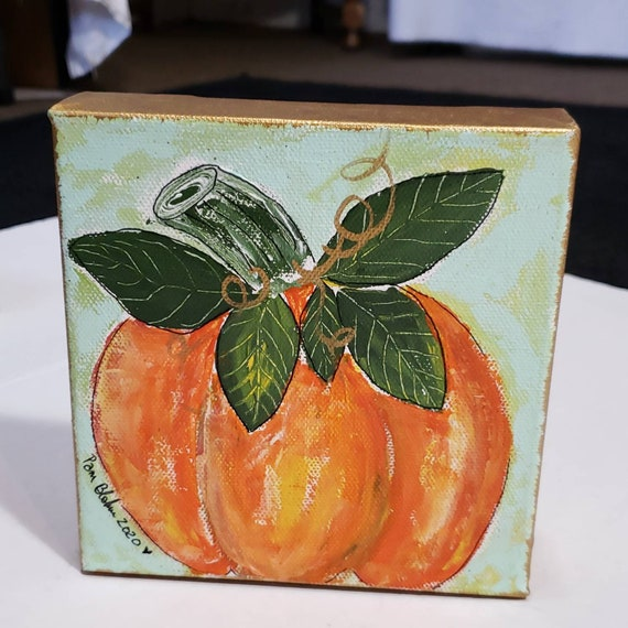 Orange Pumpkin original acrylic painting/ 6x6 & 1.5 deep canvas shelf decor/home or  office holiday decor