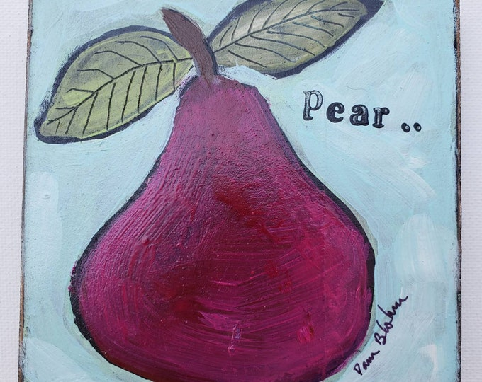 Magenta PEAR on upcycled birch wood canvas.- Small art Original acrylic painting - 4x4 Tier Tray Kitchen Decoration