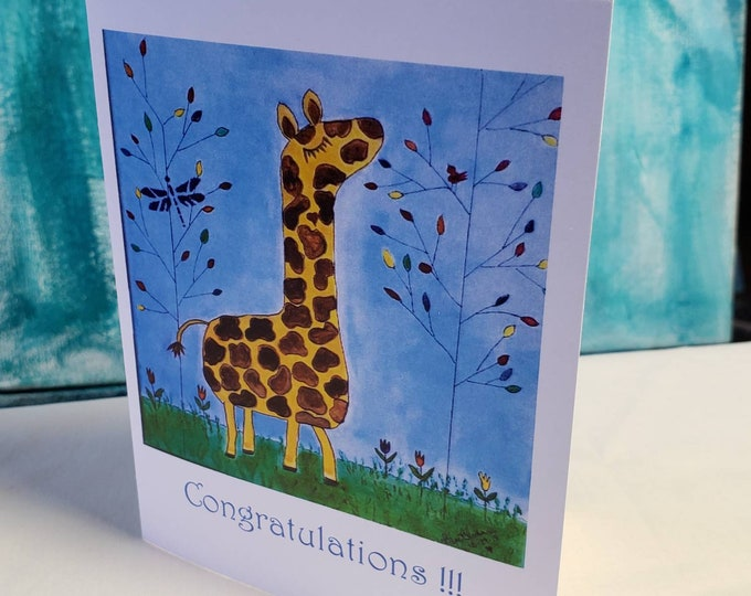 """Whimsical Giraffe """"Congratulations"""" Note Cards - set of 5 cards includes self adhesive envelopes - printed in the USA"""